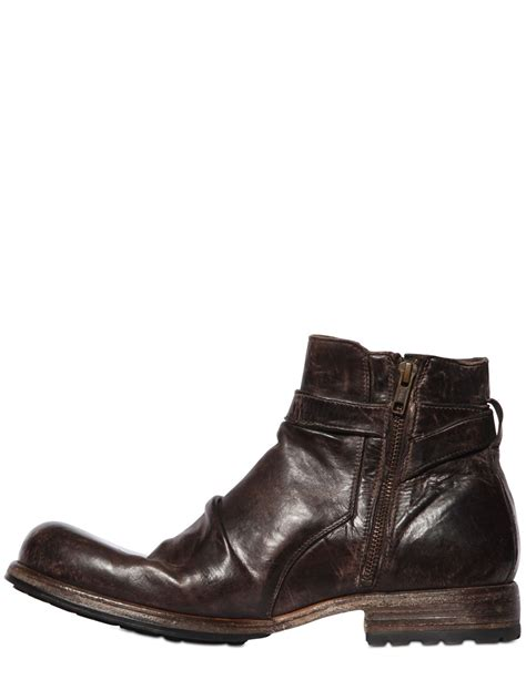shoto mens boots shoto vintage effect washed leather boots in brown for