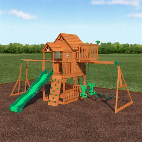 Backyard Discovery Skyfort Ii Wooden Swing Set Academy Backyard Discovery Cedar Swing Set