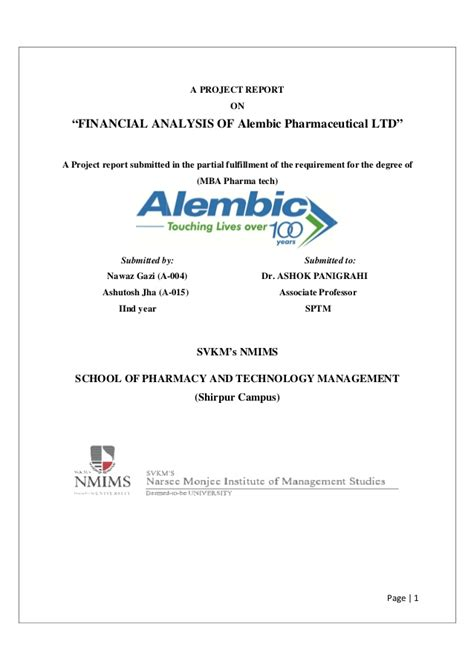 Pharmaceutical Mba Internships by Finance Report On Alembic Pharmaceuticals