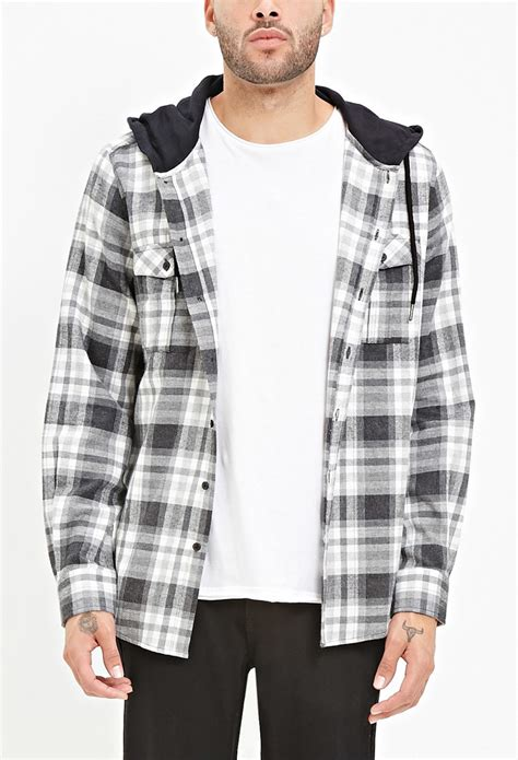 Promo Fashion White Flanel forever 21 hooded plaid flannel shirt in black for lyst