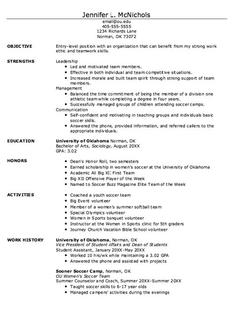 Student Athlete Resume by Exle Of Student Athlete Resume Http Exleresumecv