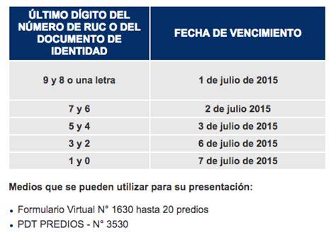 Cronograma De Vencimientos De Predios Sunat 2015 | sunat cronograma de vencimiento de declaraci 243 n de predios