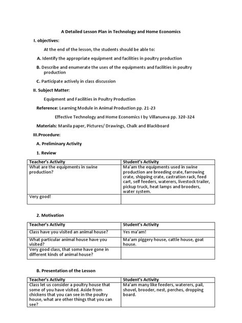 high school home economics lesson plans a detailed lesson plan in technology and home economics