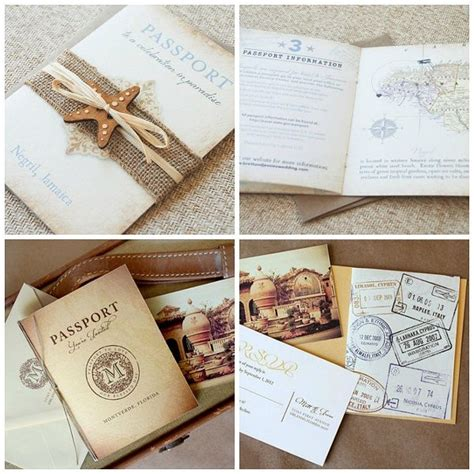 trendy destination wedding invitations the incorporation of a theme into these pssport