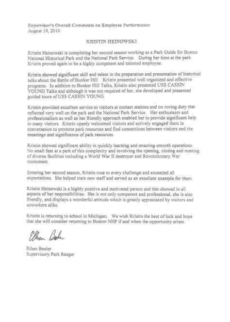 Recommendation Letter For Student From Supervisor Letter From Internship Supervisor Kristin Hock S Teaching Portfolio
