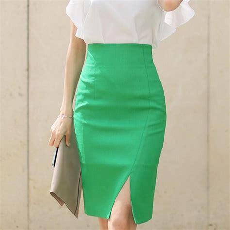 Basic Highwaist 1 office pencil skirt brand basic high waist empire zipper closed solid color split falda