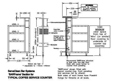 top bar section fastrackcad servaclean bar systems cad details