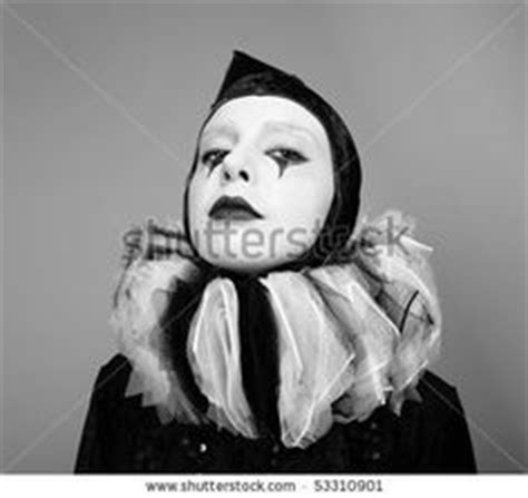 Pierette Top Grey stock photo portrait of circus fashion mime posing on a