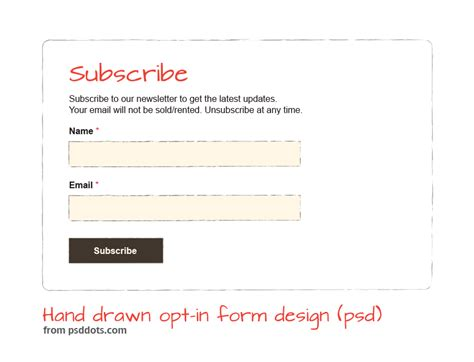 hand drawn opt in form design psd