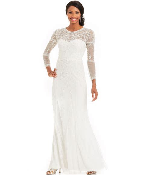 Papell Sleeve Beaded Illusion Gown In White