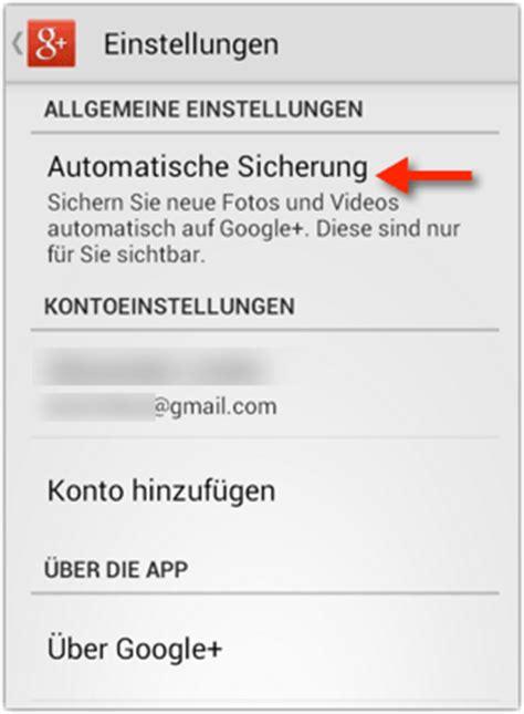 Android: Automatischen Upload von Fotos bei Google Plus
