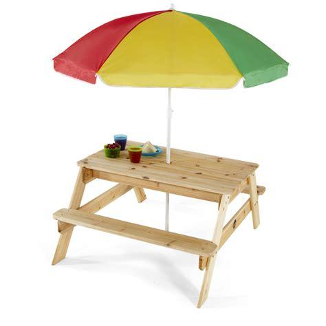 table de pique nique pour enfants avec banc et parasol