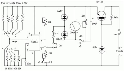 capacitance meter schematic diagram capacitance meter circuit circuit schematic learn