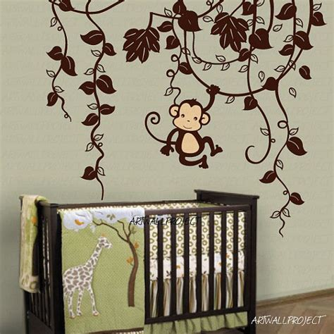 Monkey Wall Decals For Nursery Removable Vinyl Wall Decal Monkey In Jungle B Type With One Monkey Swinging Monkey Wall