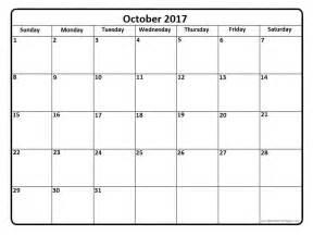 Calendar 2017 October October 2017 Calendar Printable Templates