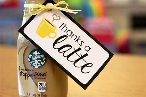 Thanks A Latte Starbucks Gift Card Template by Thank You Gift Tags For Classroom Volunteers Freebie