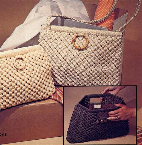 Macrame Bag Pattern - vintage 1970s macrame purse news pattern by prettypatternshop
