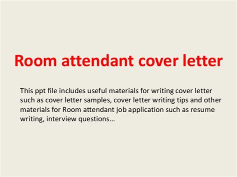 Housekeeping Room Attendant Cover Letter by Room Attendant Cover Letter