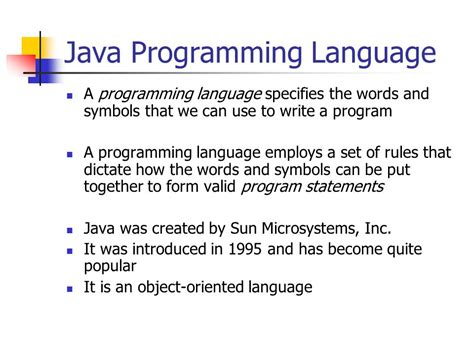 java programming language java language comp425m introduction to programming ppt