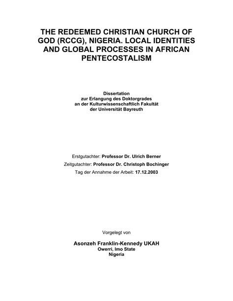 redeemed christian church  god rccg nigeria local identities  global