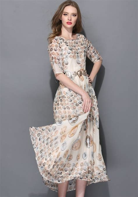 White Floral Half Sleeve Wrap Chiffon Maxi Dress   Maxi Dresses   Dresses