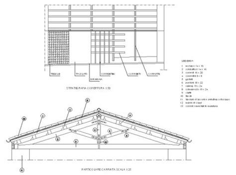disegno tettoia in legno capriate in legno dwg