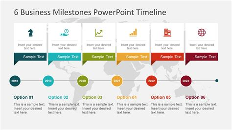 6 Business Milestones Powerpoint Timeline Slidemodel Timeline Presentation Template