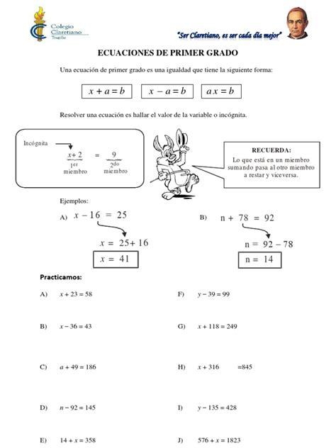 inecuaciones para primer grado primaria ecuaciones e inecuaciones