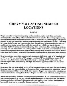 chevrolet small block block and numbers