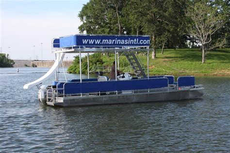 pontoon party boat with slide double decker pontoon boat with slide