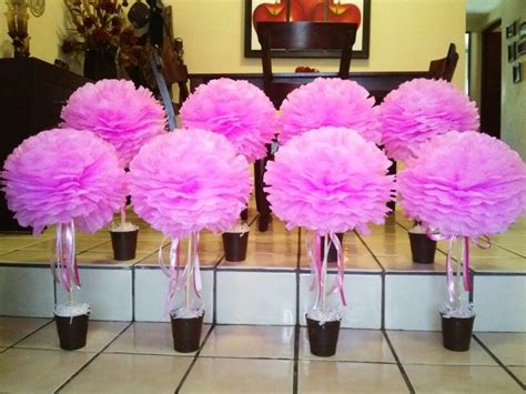 pom pom pink centerpiece baby shower