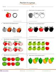 Worksheets Fractions Of Groups by Finding Fractions Applied To A Of Fruits 1st To