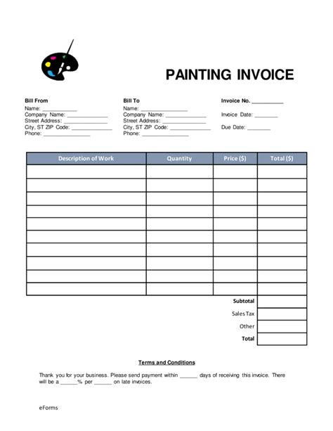 painters invoice template free painting invoice template word pdf eforms