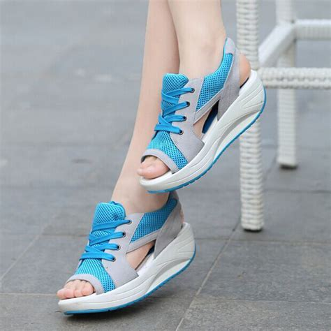 open toe athletic shoes summer shoes flat platform wedges sandals breathable