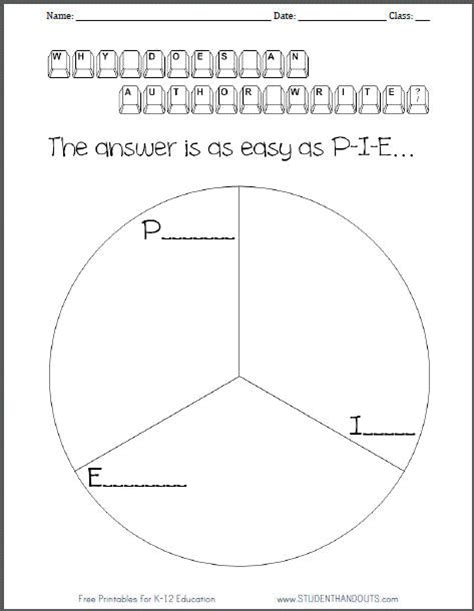 printable graphic organizer for author s purpose why does an author write p i e chart worksheet student