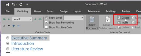 Microsoft Word 2016 Outline View by How To Create A Master Document And Add Subdocuments In Ms Word 2016