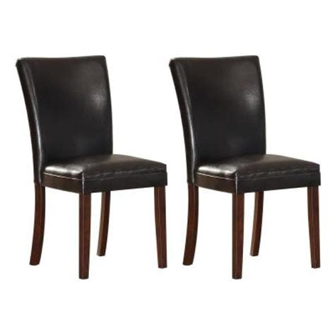 Home Depot Dining Room Chairs by Homesullivan Black Brown Vinyl Dining Chairs Set Of 2