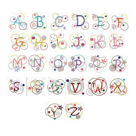 free doodle dot font swirls curly alphabet machine embroidery font designs by