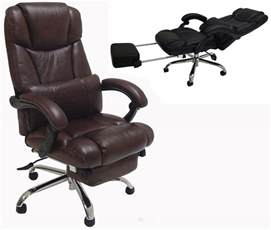 Desk Chair With Footrest Leather Reclining Office Chair W Footrest