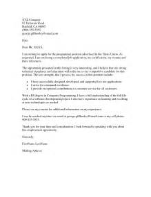 Cover Letter For It Application by Application Cover Letter Exle Resumes