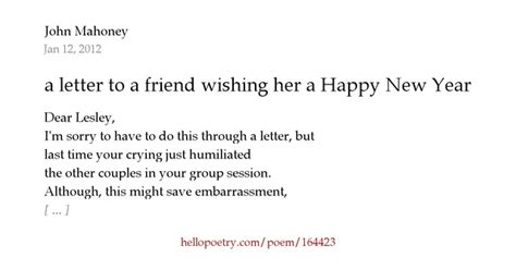 a letter to a friend wishing her a happy new year by john
