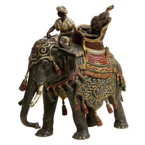 modern bohemia ceramic elephants large cold painted vienna bronze elephant and rider by