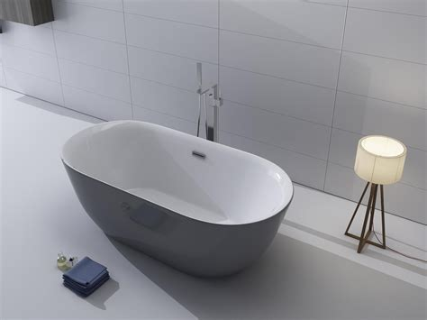 freestanding acrylic bathtubs 1001now lamone 67 quot grey seamless freestanding acrylic bathtub kitchen and bath masters
