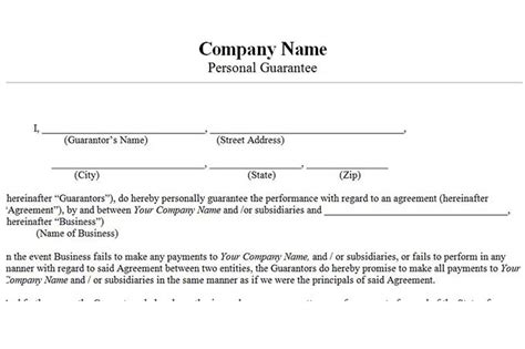 personal guarantee form template accounts receivable controls vitalics