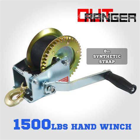 1500 lb boat trailer winch 1500lbs 1500lb hand winch 2 ways synthetic strap manual