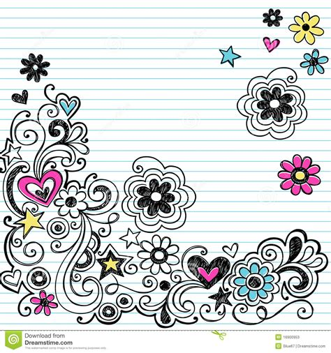 doodle with others marker notebook doodles swirls and flowers stock photos