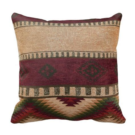 American Throw Pillows by Tribal Western Geometric Motif Throw Pillows