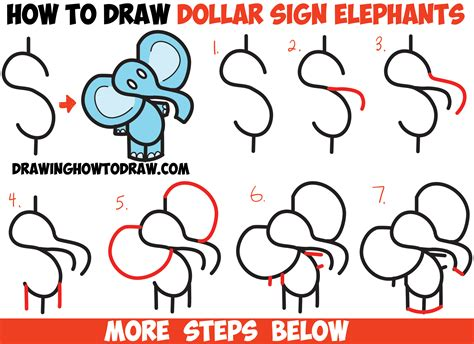 how to draw a step by step easy how to draw elephant from the dollar sign easy step by step drawing tutorial