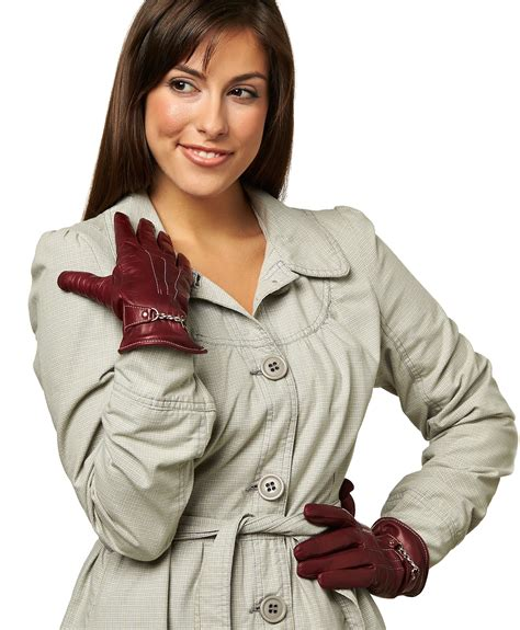 women s women s italian cashmere lined leather gloves with chain