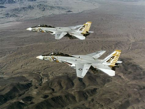 leatherneck f 14a a b f 14a tomcats of fighter squadron vf142 pictured in flight